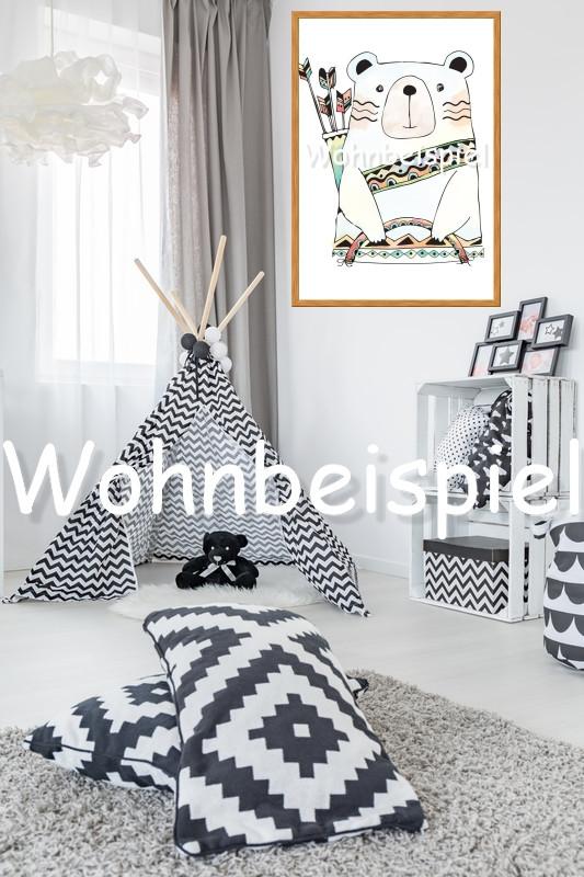 Kinderzimmer poster a4 kunstdruck b r h uptling wand - Kunstdruck kinderzimmer ...